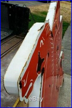 Vintage MOBIL Gas Flying Red PEGASUS Horse Sign ORIGINAL Porcelain Cookie Cutter