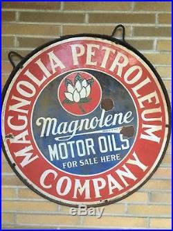 Vintage Magnolia Petroleum Company Porcelain Sign 30 Diameter