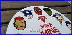 Vintage Marvel Comics Porcelain Conoco Gasoline Service Station Superhero Sign
