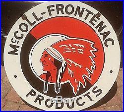 Vintage McColl Frontenac Motor Oil Gasoline Porcelain Sign Gas Indian Graphic