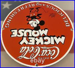 Vintage Mickey Mouse Coca Cola Porcelain Sign Metal Soda Gas Station Pepsi Dew
