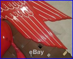 Vintage Mobil Gas Oil Pegasus Embossed 3D Porcelain Sign Original Antique SSP