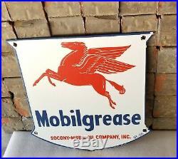 Vintage Mobil Gasoline Porcelain Gas Oil Service Station Pegasus Pump Plate Sign