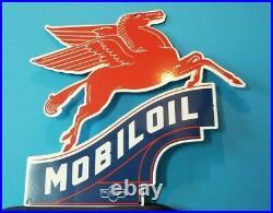 Vintage Mobil Gasoline Porcelain Large Service Station Pump Plate Pegasus Sign