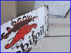 Vintage Mobil Oil Gargoyle Double Sided Porcelain Flange Sign GAS SODA