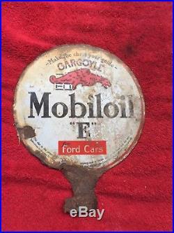Vintage Mobiloil Gargoyle E for Ford Cars Double Sided Porcelain Lubester Sign