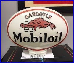 Vintage Mobiloil Gargoyle Original Globe Gas Pump Oil Porcelain Sign