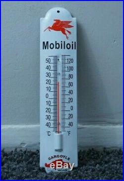Vintage Mobiloil Gasoline Porcelain Gas Oil Thermometer Sign Pump Plate Gargoyle