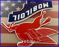 Vintage Mobiloil Porcelain Sign Dealership Sign Service Gas Mobil Oil Gasoline
