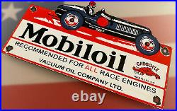Vintage Mobiloil Porcelain Sign Gas Station Pump Plate Mobil Motor Oil Gargoyle