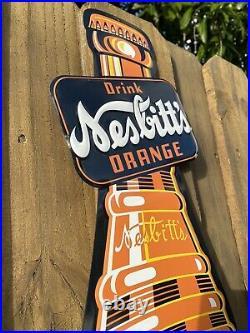 Vintage Nesbitts Orange Soda Pop Embossed Metal Sign Porcelain USA Oil Gas Drink