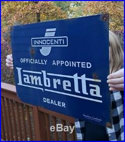 Vintage Officially Appointed Lambretta Dealer Porcelain Sign Italy Rare
