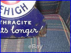 Vintage Old Company Lehigh Coal Sign Porcelain 1930s