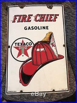 Vintage Original 1963 Texaco Fire Chief Gasoline Pump Plate Porcelain Sign
