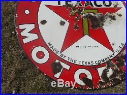 Vintage Original 2-Sided TEXACO Motor Oil Station Porcelain Advertising SIGN