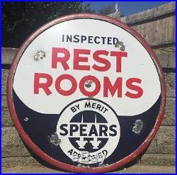 Vintage Original 30 Merit Spears Porcelain Rest Room Lollipop Sign-Double Sided