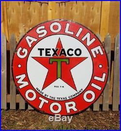 Vintage Original 42 DBL sided Texaco Gasoline Motor Oil Porcelain Enamel Sign