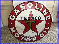 Vintage Original 42 DOUBLE SIDED Texaco Gas Station Porcelain Sign