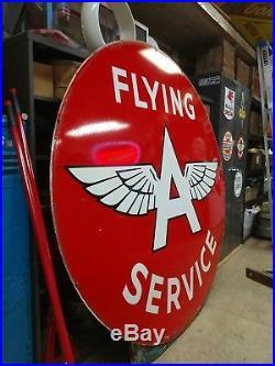 Vintage Original 6ft Flying A Gasoline Porcelain Sign Gas Service Station NICE