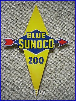 Vintage Original Blue Sunoco 200 Pump Plate Single Sided Porcelain Sign