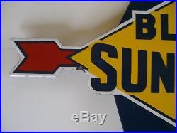 Vintage Original Blue Sunoco Porcelain Gas Pump Sign Plate