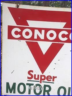 Vintage Original Double Sided Conoco Super Motor Oil Porcelain Sign 27 x 30
