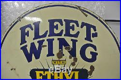 Vintage Original Fleetwing Ethyl Gasoline Porcelain Sign No Reserve