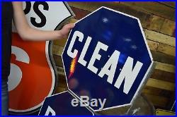 Vintage Original Gas Station Clean Rest Rooms Flanged Porcelain Sign Bracket WOW