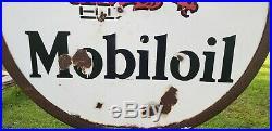 Vintage Original Mobiloil Gargoyle Lollipop Double Sided Porcelain Enamel Sign