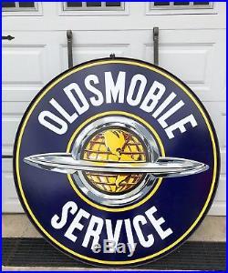 Vintage Original Oldsmobile Service Porcelain Dealership 60 Sign withBracket WOW