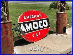 Vintage Original Porcelain Gas Oil Advertising Sign AMOCO American Gas