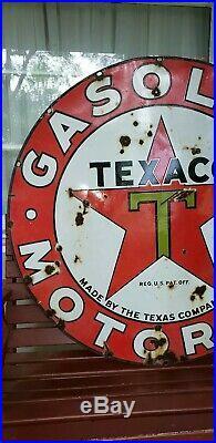 Vintage Original Porcelain Texaco Advertising Gas Oil Sign 42