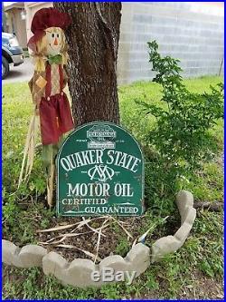 Vintage Original Quaker State Motor Oil Porcelain Sign DSP Tombstone