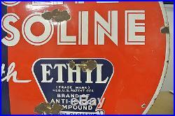 Vintage Original Red Crown Solite Ethyl Gasoline Porcelain Sign No Reserve