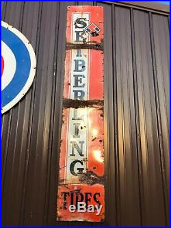 Vintage Original SEIBERLING TIRE Porcelain SIGN Gas Station Oil OLD Barn Hanger