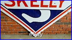 Vintage Original Skelly Oil Co Two-Sided 4 ft. Porcelain Sign Good Condition