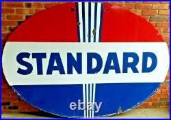 Vintage Original Standard Oil Co Double-Sided 7 ft Gas Station Porcelain Sign