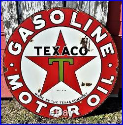 Vintage Original Texaco Green T 1930's 42 Double Sided Porcelain Sign