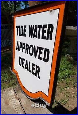 Vintage Original Tide Water Veedol Approved Dealer Porcelain Enamel Sign
