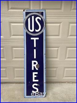 Vintage Original US Tires Porcelain 6ft Porcelain Sign