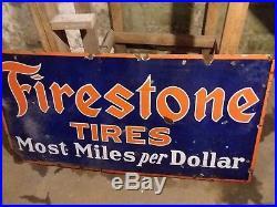 Vintage PORCELAIN FIRESTONE TIRES GAS STATION OIL ADVERTISING 60x30 SIGN