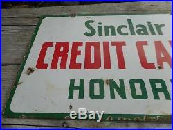 Vintage PORCELAIN SINCLAIR Gas Oil Station CREDIT CARDS HONORED Advertising SIGN