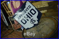 Vintage PRE AAA 2 sided OHIO service repair Highway Garage 1920's Porcelain Sign