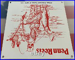 Vintage Penn Fishing & Takle Porcelain Sign, Gas, Oil, Johnson, Outboard, Rapala