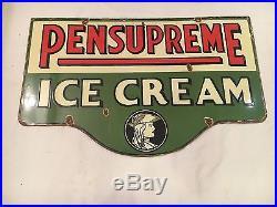 Vintage Pensupreme Ice Cream 1940's Porcelain Enamel Sign