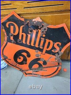 Vintage Phillips 66 Gasoline / Motor Oil Porcelain Gas Pump Sign