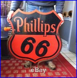 Vintage Phillips 66 Two Sided Porcelain Lollipop Sign WithBrackets 30x30 SPS'55