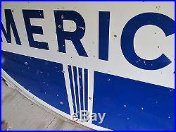 Vintage Porcelain American 1967 Sign 6 Ft Double Sided With Mount Ring