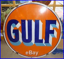 Vintage Porcelain Double Sided GULF Gas Station Sign 42 Diameter