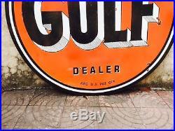 Vintage Porcelain Double Sided Gulf Dealer Enamel Sign